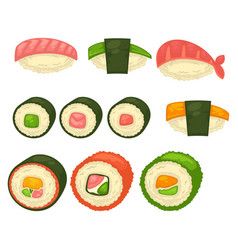Big sushi and maci rolls isolated vector