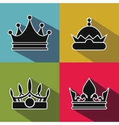 Black crown icons with long shadow on color vector image vector image