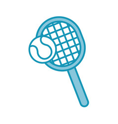 Blue tennis racket and ball cartoon vector