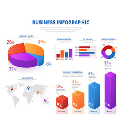 business abstract infographics with 3d pie info vector image vector image