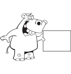 Cartoon Hippo with a Sign vector image