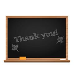 Chalk on a blackboard - thank you vector
