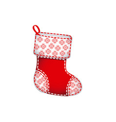 Christmas socks with ornaments and snowflakes vector