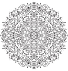 Complex detailed black mandala on white background vector