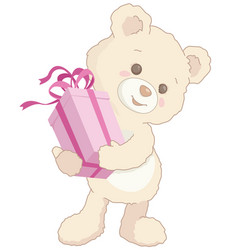cute little teddy bear holding a pink present vector image