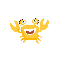 cute yellow crab funny sea creature hand drawn vector image