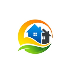 eco house realty construction logo vector image vector image
