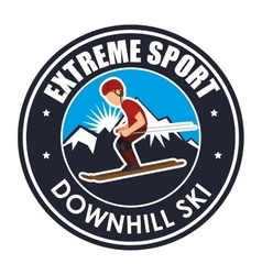 Extreme sport downhill ski label vector