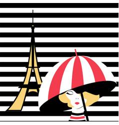 fashion girl with umbrella in paris vector image vector image