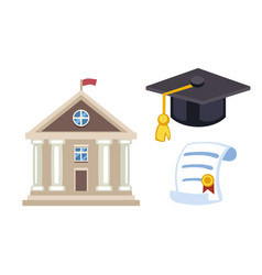 Graduation hat diploma isolated university school vector