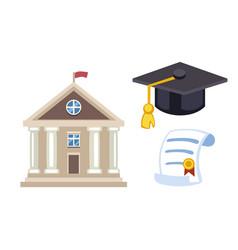 graduation hat diploma isolated university school vector image
