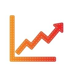 Growing bars graphic sign Orange applique vector image