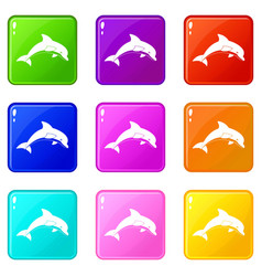 Jumping dolphin icons 9 set vector