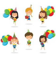Jumping girls carrying colorful wrapped gift vector