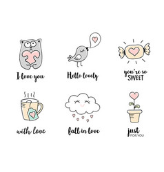 Love doodles hand drawn valentines day quotes vector