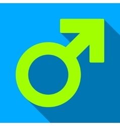 Male symbol flat long shadow square icon vector