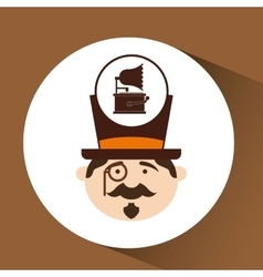 Man hipster gramophone vintage icon vector