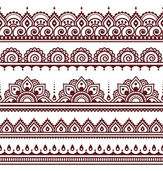 Mehndi Indian Henna tattoo brown seamless pattern vector image vector image