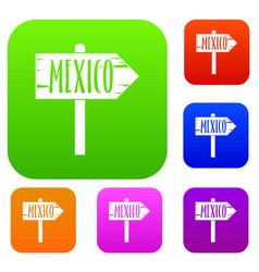 Mexico wooden direction arrow sign set color vector