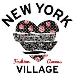 New york village typography patchwork hearth vector