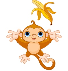 of funny monkey trying to catch banana vector image vector image