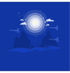 Outline mountain at night landscape vector