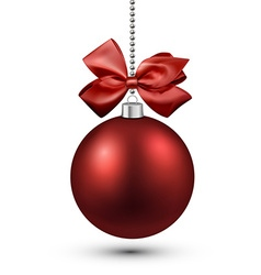 Red christmas bauble with bow vector image