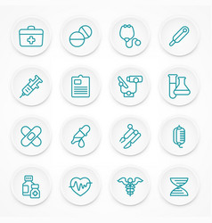 Round blue medical icons vector