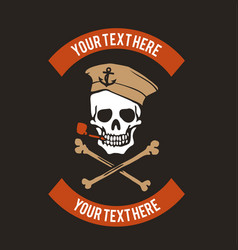 sailor skull logo design vector image