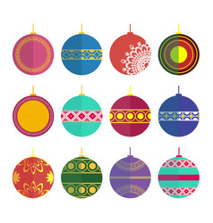 Set of christmas toys in the style flat vector