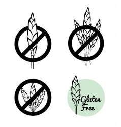 Set of four gluten free symbols with banned vector