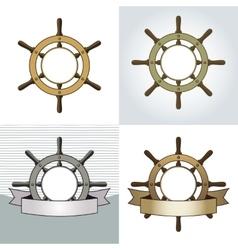 Ship helm backgrounds set vector