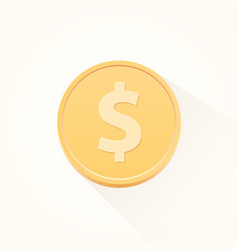 simple flat cartoon dollar coin vector image