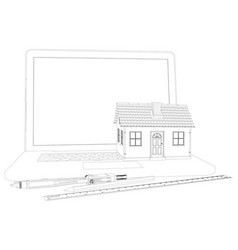 Sketch of house laptop and engineer tools vector