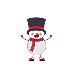 snowman with hat and scarf isolated icon design vector image