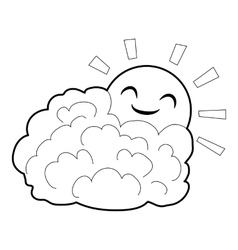 Sun and cloud icon isometric 3d style vector