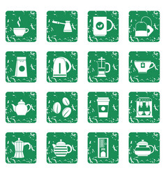 Tea and coffee icons set grunge vector