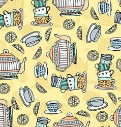 Tea cups seamless pattern vector