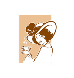 Victorian lady portrait holding a cup of tee vector