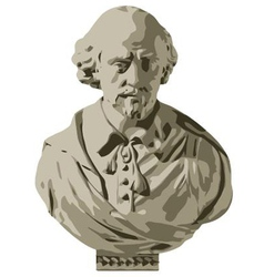 William Shakespeare Bust vector image
