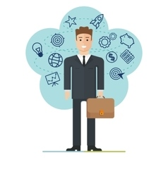 young businessman with suitcase vector image