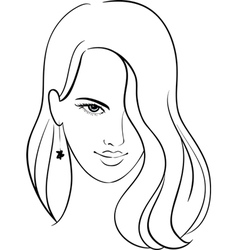 Girl face with beautiful hair sketch vector
