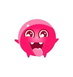Happy round character emoji vector