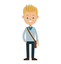 Blond boy blue eyes sweater student vector