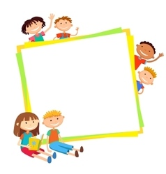 Kids bunner around square banner vector