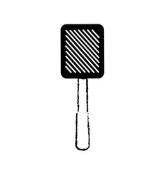 Grilled spatula utensil kitchen outline vector