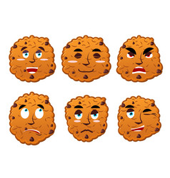 Cookies emotions set oatmeal cookie evil and good vector