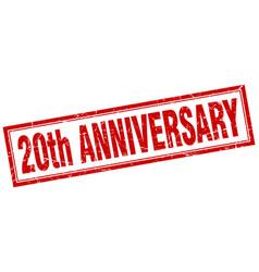 20th anniversary square stamp vector