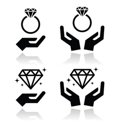 Diamond engagement ring with hands icon vector image