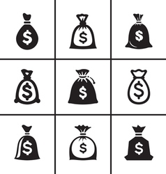 Money bags icon set vector
